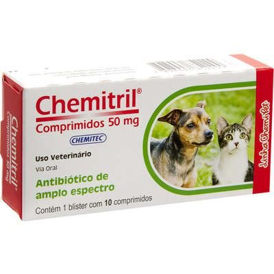 Chemitril Enrofloxacino 50mg - Cx 10 Comprimidos