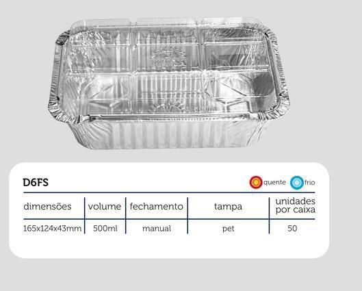 Bandeja D06 FS - 500ML - Microondas / Forno / Freezer - WYDA - com tampa PET - pacote com 10 unidades