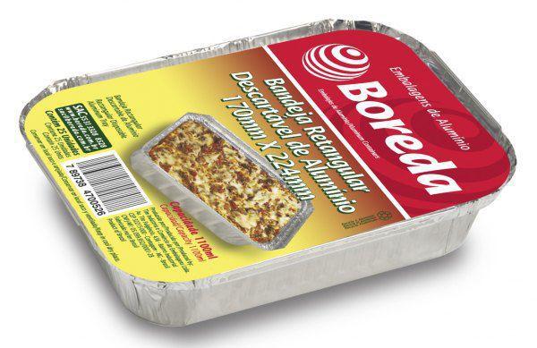 Bandeja 170 - Quentinha de alumínio  Retangular 1.150 ml com 100 unidades