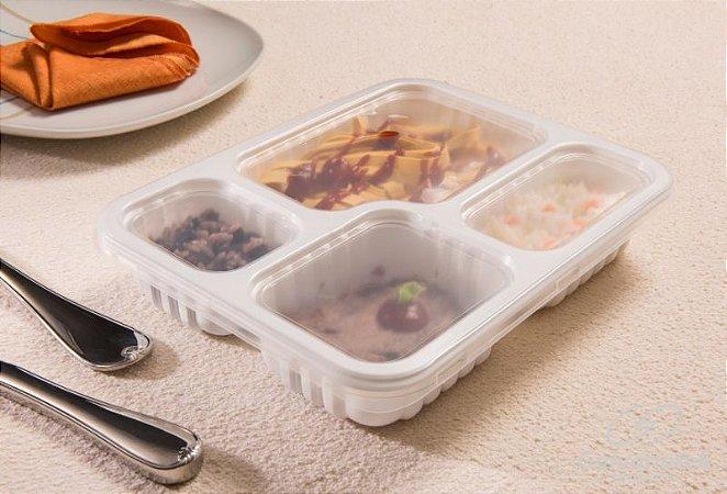 Embalagem Pote Para Freezer E Microondas - Galvanotek G 324 - 4 Divisórias 1.225ml - caixa com 100 unidades