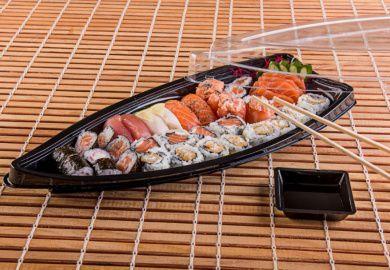 Embalagem descartável para comida japonesa - Barca Média - Galvanotek GO 933 - caixa com 100 Unidades