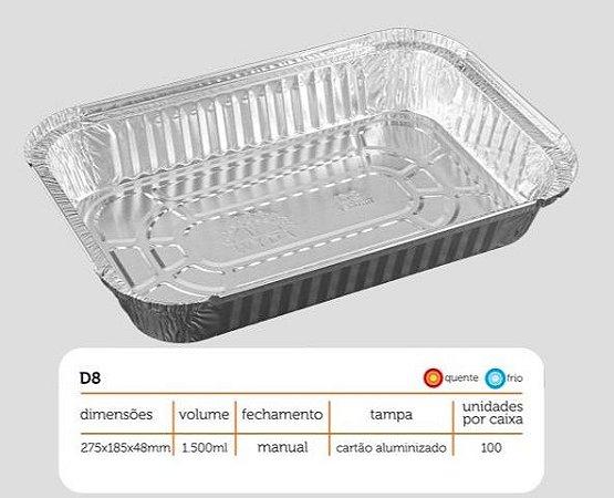 Bandeja D08 FS - 1.500 ml - Microondas / Forno / Freezer - WYDA - com tampa PET - caixa com 50 unidades