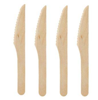 Faca Descartável Refeição De Bambu / Madeira - 16 cm pacote com 100 unidades
