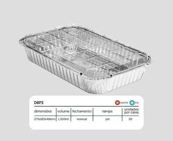 Bandeja D08 FS - 1.500 ml - Microondas / Forno / Freezer - WYDA - com tampa PET - pacote com 10 unidades