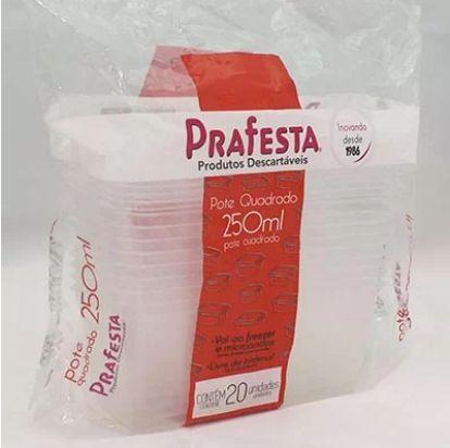 Pote quadrado pacote com 20 unidades - Ref 8466 - 250ml - Prafesta