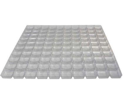 Caixa transparente para 100 brigadeiros com berço branca - 39X39X04 - ASSK