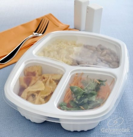 Embalagem pote para freezer e microondas 3 divisórias - caixa com 100 Unidades - G 330 - 1.150ml -  Galvanotek