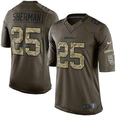 Jersey - 25 Richard Sherman  - Salute to Service -  Seattle Seahawks - MASCULINA