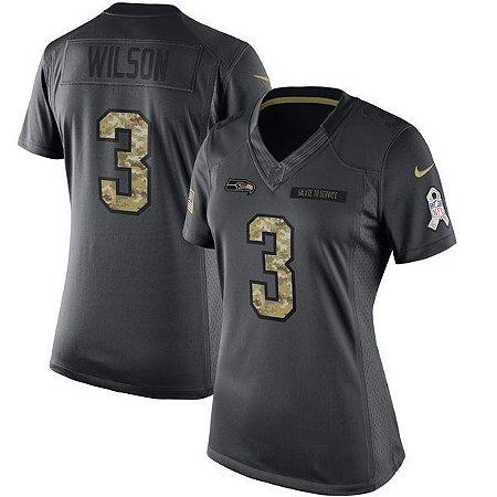 Jersey - 3 Russell Wilson - Salute to Service -  Seattle Seahawks - FEMININA