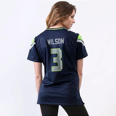 Camisa - 3 Russell Wilson - Seattle Seahawkss - FEMININA