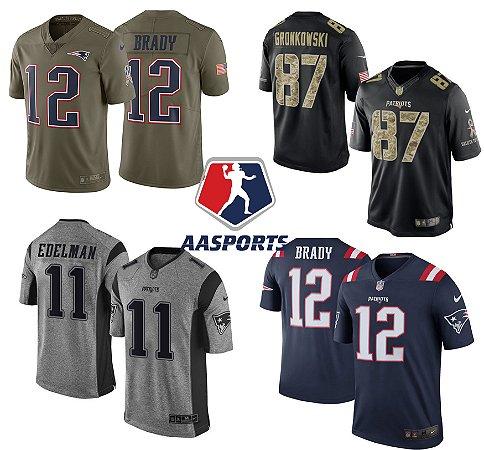 26149efc3f6be Camisa New England Patriots - 12 Brady - 87 Gronkowski - 11 Edelman -  MODELOS -