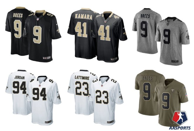 Camisa New Orleans Saints - 9 Brees - 41 Kamara - 23 Lattimore -13 Thomas - 22 Ingram - 16 Coleman - 94 jordan 