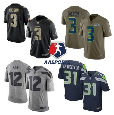 b7d2f13e6 Camisa Seattle Seahawks - 3 Wilson - 12 Fan - 89 Baldwin - 31 Chancellor -