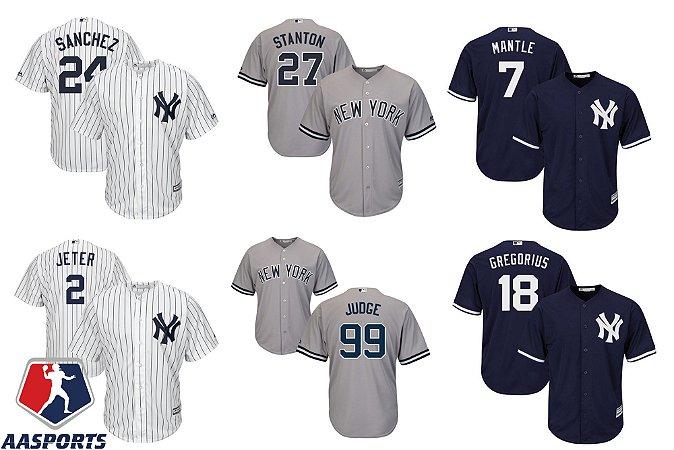 Camisa New York Yankees - 2 Jeter - 7 Mantle - 3 Babe Ruth - 18 Gregorius - 24 Sanchez - 99 Judge - 27 Stanton