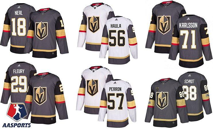 Camisa Vegas Golden Knights - 29 Fleury - 18 Neal - 56 Haula - 71 Karlsson -  88 Schmidt -  57 Perron