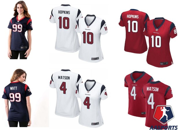 Camisa Houston Texans - FEMININA - 4 Deshaun Watson - 10 DeAndre Hopkins - 99 JJ Watt