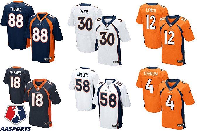 Camisa Denver Broncos - 4 Case Keenum - 12 Paxton Lynch - 18 Peyton Manning - 30 Terrell Davis - 58 Von Miller - 88 Demaryius Thomas