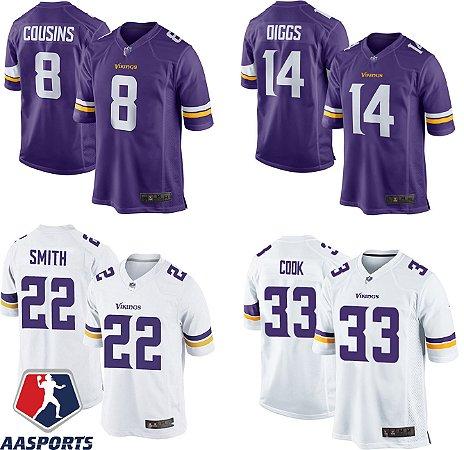 Camisa Minnesota Vikings - 8 Kirk Cousins - 19 Adam Thielen - 22 Smith - Justin Jefferson - 33 Dalvin Cook - 82 Kyle Rudolph