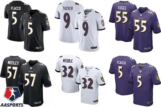 Camisa Baltimore Ravens - 5 joe flacco - 32 Eric Weddle - 55 Terrell Suggs - 57 C.J. Mosley - 9 Justin Tucker