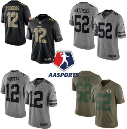 Camisa Green Bay Packers - Salute to Service e Gridiron Gray - 12 Rodgers - 52 Matthews - 80 Graham