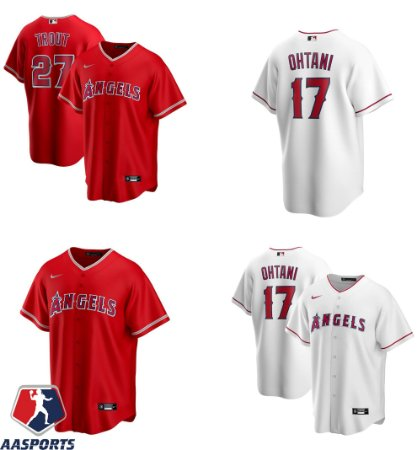 Camisa Los Angeles Angels - 17 Shohei Ohtani - 27 Mike Trout