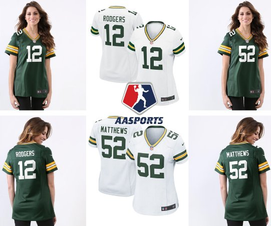 8c093a8d2 Camisa Green Bay Packers - 12 Rodgers - 52 Matthews - 80 Graham - FEMININA