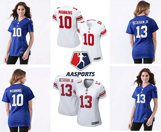 Camisa New York Giants - 10 Eli Manning - 13 Odell Beckham Jr - FEMININA