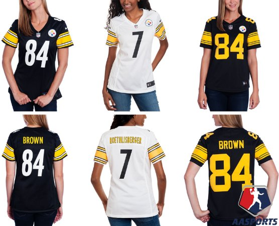 13b82a2b05 Camisa - Pittsburgh Steelers - 7 Ben Roethlisberger - 84 Antonio Brown -  FEMININA