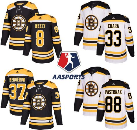 Camisa Boston Bruins - 8 Cam Neely - 33 Zdeno Chara - 37 Patrice Bergeron - 88 David Pastrnak - 40 Tuukka Rask