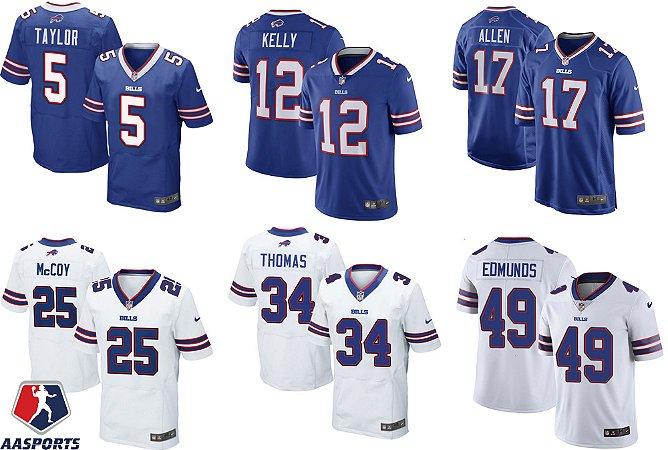 Camisa Buffalo Bills - 5 Tyrod Taylor - 12 Jim Kelly - 14 Sammy Watkins - 17 Josh Allen - 25 LeSean McCoy - 99 Marcell Dareus