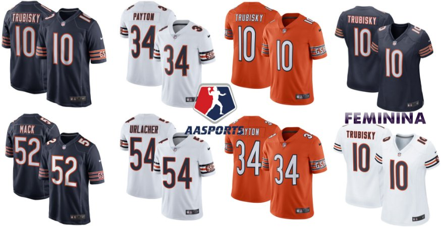Camisa Chicago Bears - 10 Mitchell Trubisky - 17 Anthony Miller - 54 Brian Urlacher - 52 khalil Mack