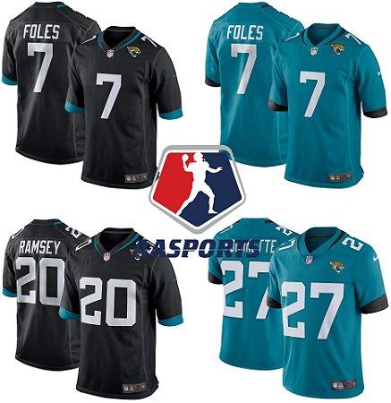 Camisa Jacksonville Jaguars - 5 Blake Bortles - 20 Jalen Ramsey - 27 Leonard Fournette - 7 Nick Foles - 15 Gardner Minshew