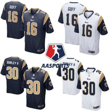 Camisa Los Angeles Rams - 16 Jared Goff - 30 Todd Gurley - 99 Aaron Donald