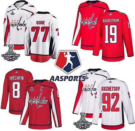 Camisas Washington Capitals - 8 Alexander Ovechkin - 19 Nicklas Backstrom - 77 TJ Oshie - 92 Evgeny Kuznetsov