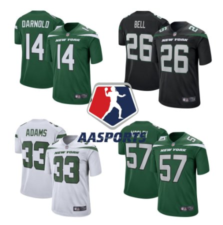 Camisa New York Jets - 14 Sam Darnold - 33 Jamal Adams - 26 Le'Veon Bell - 57 C.J. Mosley