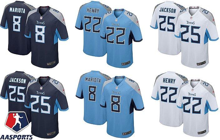 Camisa Tennessee Titans - 8 Marcus Mariota - 22 Derrick Henry - 25 Asa Jackson - 31 Kevin Byard