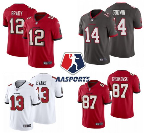 Camisa Tampa Bay Buccaneers - 87 Rob Gronkowski - 13 Mike Evans  - 12 Tom Brady - 14 Chris Godwin
