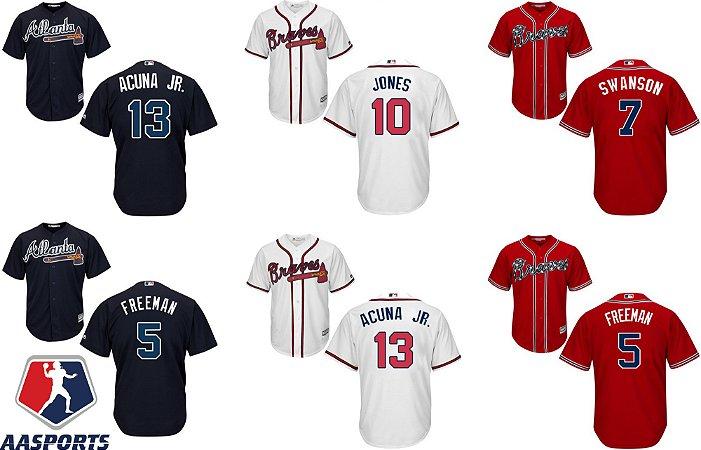Camisa Atlanta Braves - 5 Freddie Freeman - 7 Dansby Swanson - 10 Chipper Jones - 13 Ronald Acuna Jr