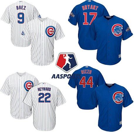 Camisa Chicago Cubs - 17 Kris Bryant - 9 Javier Baez - 22 Jason Heyward - 44 Anthony Rizzo