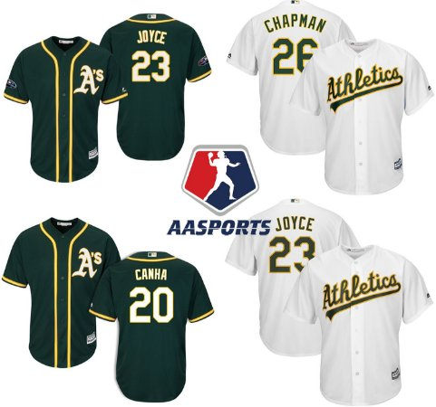 Camisa Oakland Athletics - 20 Mark Canha - 23 Matt Joyce - 26 Matt Chapman