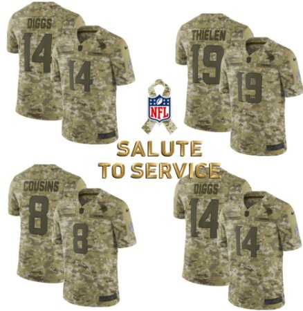 Camisa Minnesota Vikings - 8 Cousins - 14 Diggs - 19 Thielen - Salute to Service