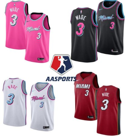 Camisa Miami Heat - City Edition Rosa - 3 Dwyane Wade