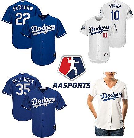 Camisa - Los Angeles Dodgers - 10 Turner - 35 Bellinger - 74 Jansen - 3 Taylor - 6 Dozier - 14 Hernandez - 8 Machado - 22 Kershaw - Julio Urias