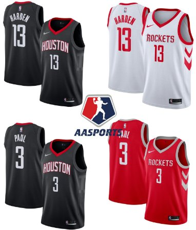Camisa  Houston Rockets - 13 James Harden - 3 Chris Paul - 7 Carmelo Anthony