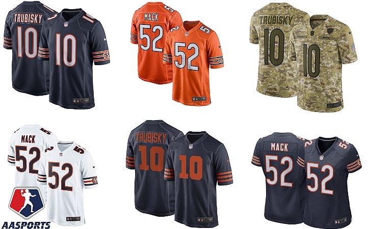 Camisa Chicago Bears - 10 Mitchell Trubisky - 54 Urlacher - 52 Khalil Mack - 17 Anthony Miller - 29 Tarik Cohen - 34 Walter Payton - 34 Walter Payton -   Masculina e Feminina