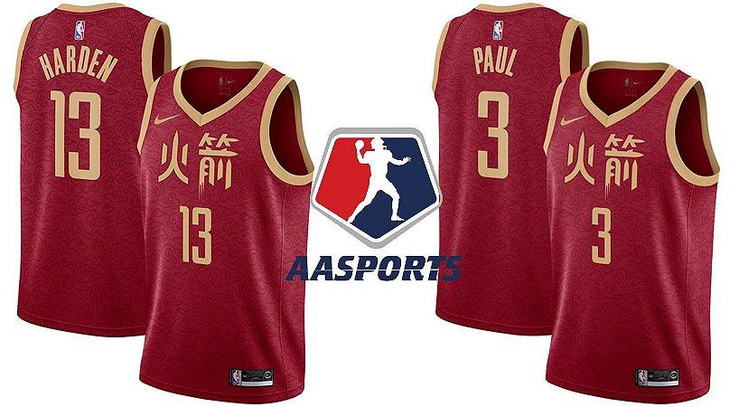Camisa  Houston Rockets - 13 James Harden - 3 Chris Paul - 7 Carmelo Anthony - City Edition