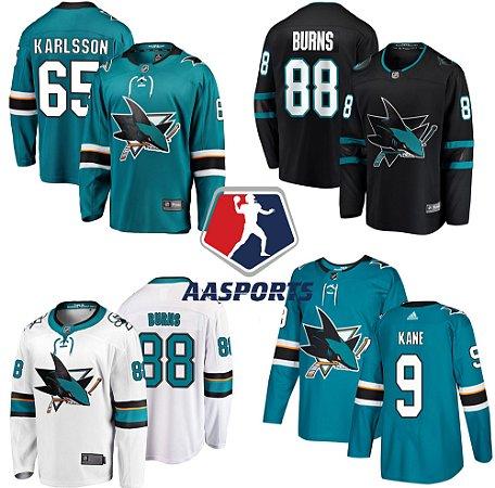 Camisa San Jose Sharks - 9 Evander Kane - 88 Brent Burns - 19 Joe Thornton - 65 Erik Karlsson - 8 Joe Pavelski