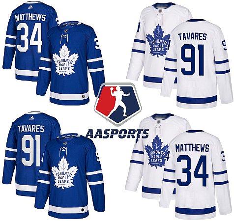 Camisa Toronto Maple - 29 William Nylander - 12 Marleau Rielly - 16 Mitchell Marner - 91 John Tavares - 34 Auston Matthews