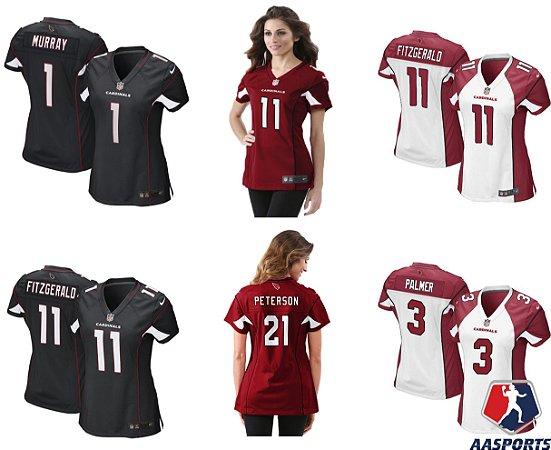 Camisa Arizona Cardinals - 3 Carson Palmer - 11 Larry Fitzgerald - 21 Patrick Peterson - 1 Kyler Murray - FEMININAS
