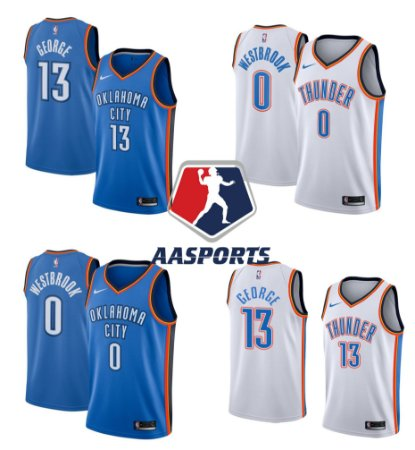 Camisa Oklahoma City Thunder - 0 Russell Westbrook - 13 Paul George